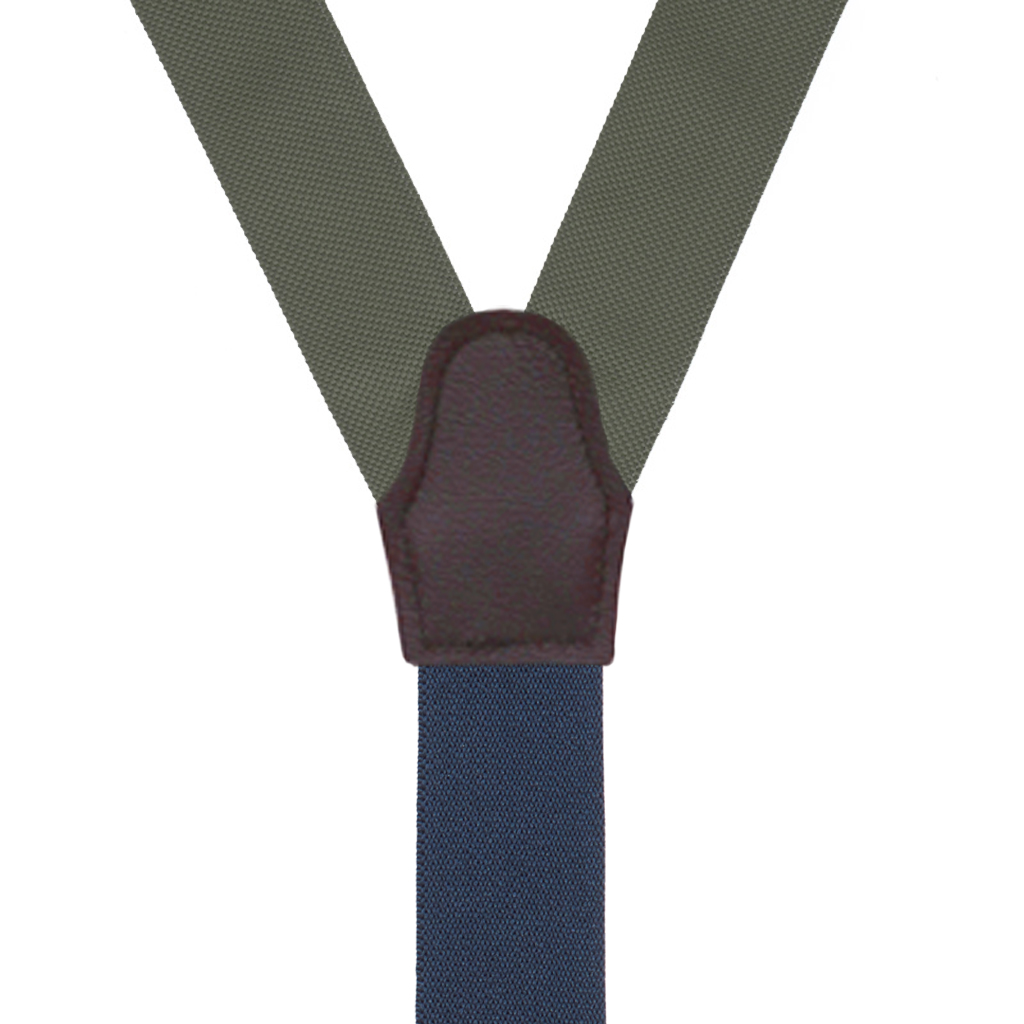 Oxford Cloth Button Suspenders in Olive - Rear View