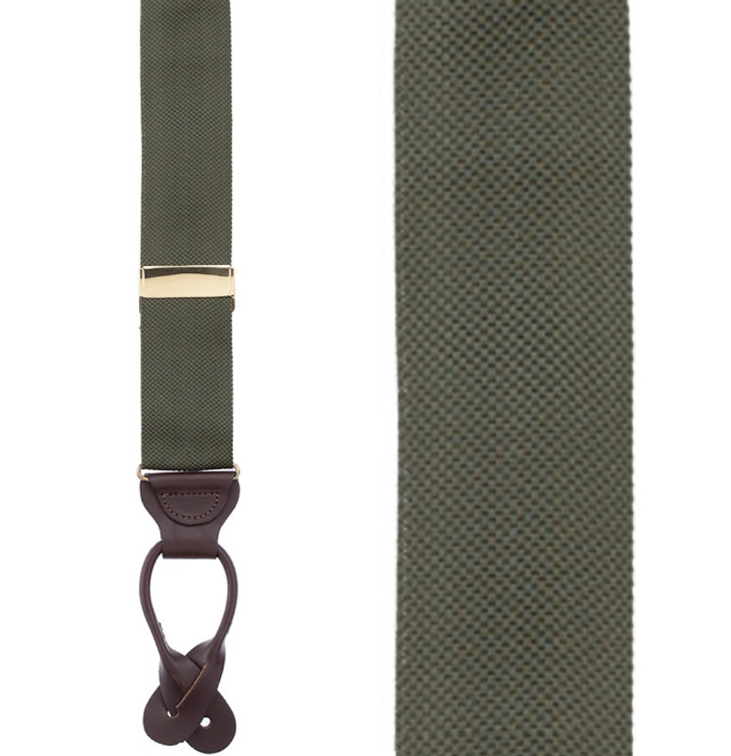 Oxford Cloth Button Suspenders in Olive - Front View