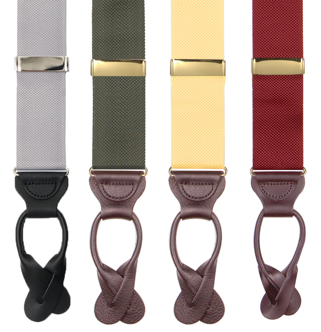 Oxford Cloth Button Suspenders - All Colors
