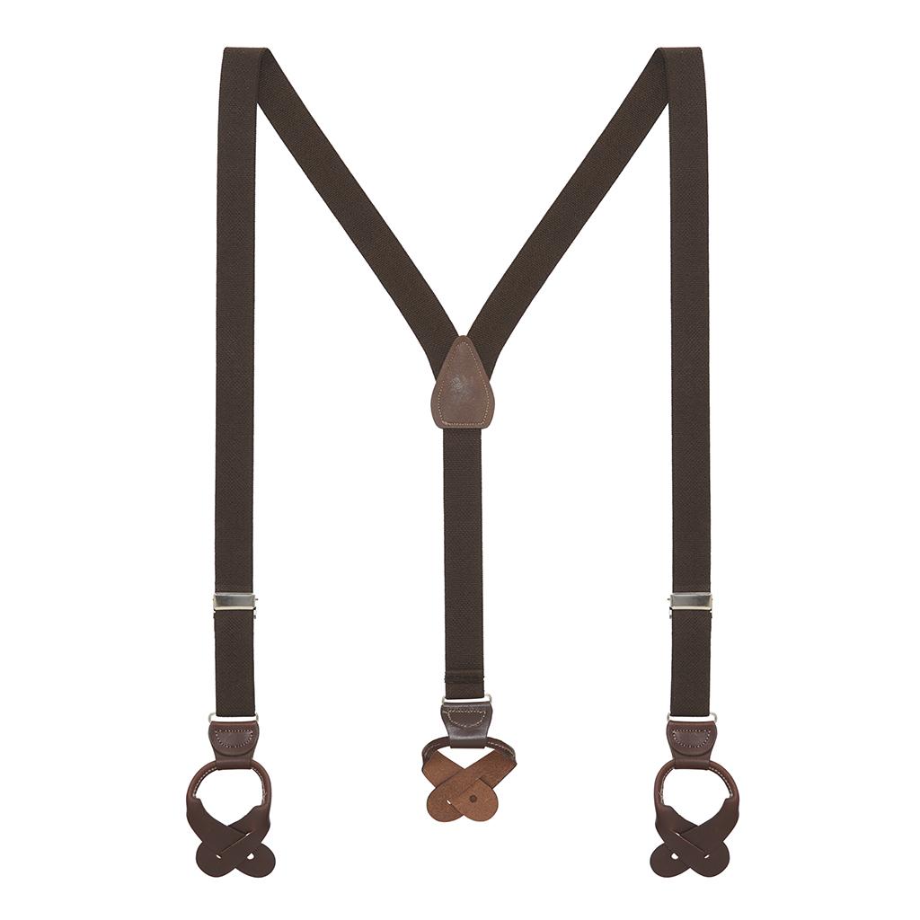 1 Inch Wide Button Suspenders - BROWN