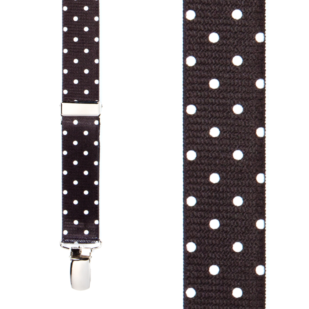 Polka Dot Suspenders, White Dots on Black - Front View