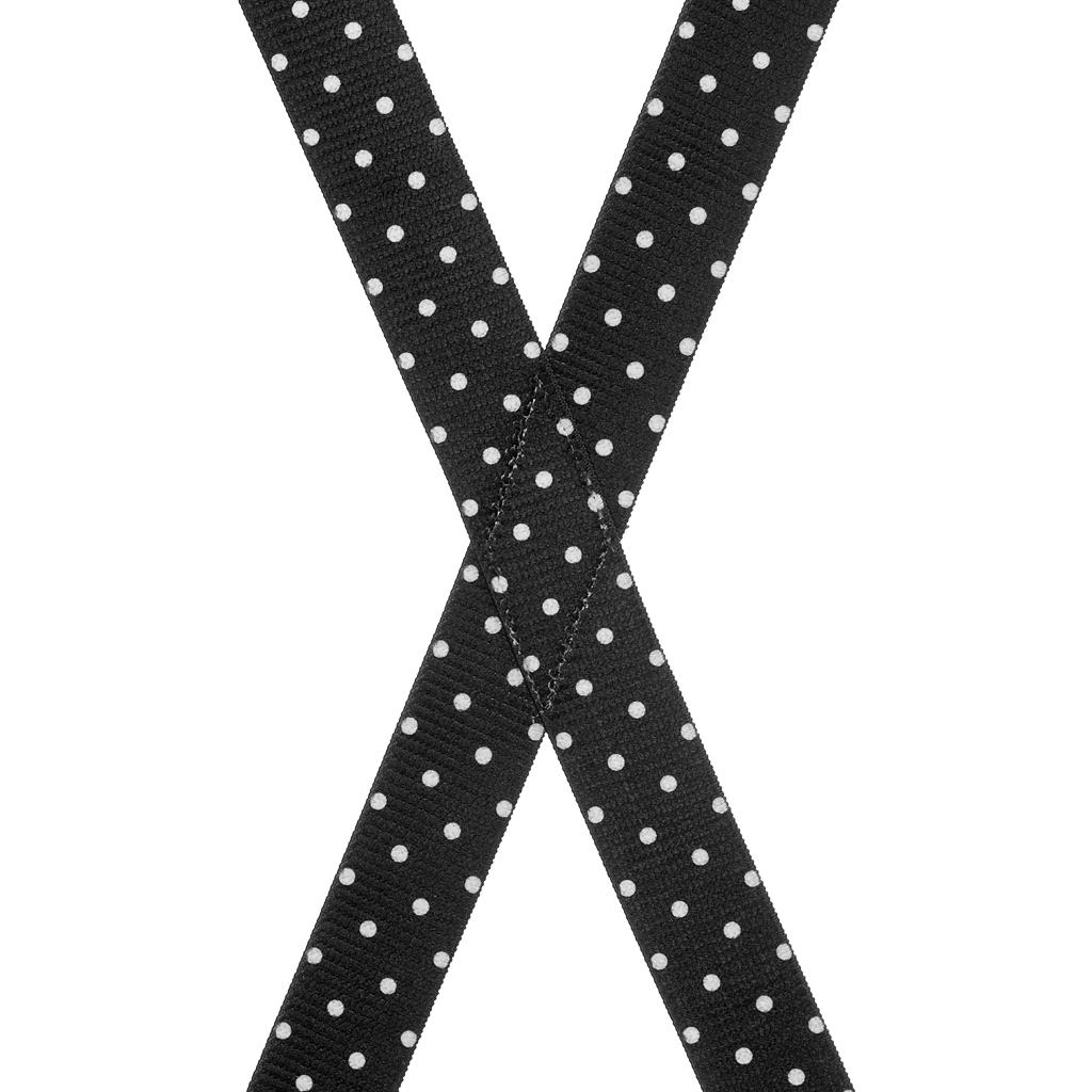 Polka Dot Suspenders, White Dots on Black - Rear View
