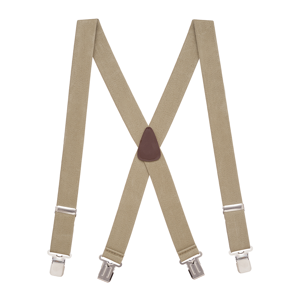 Full View - 1.5 Inch Wide Construction Clip Suspenders - TAN