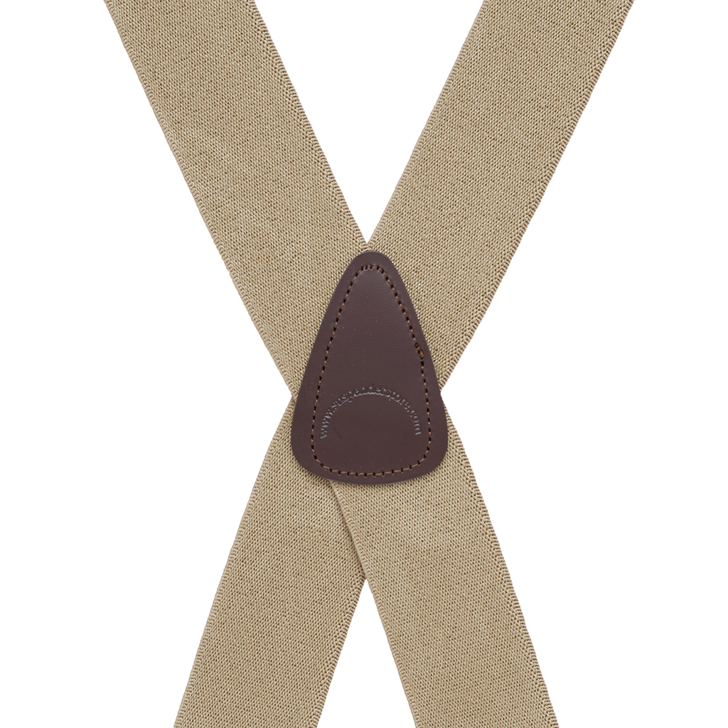 Rear View - 1.5 Inch Wide Construction Clip Suspenders - TAN