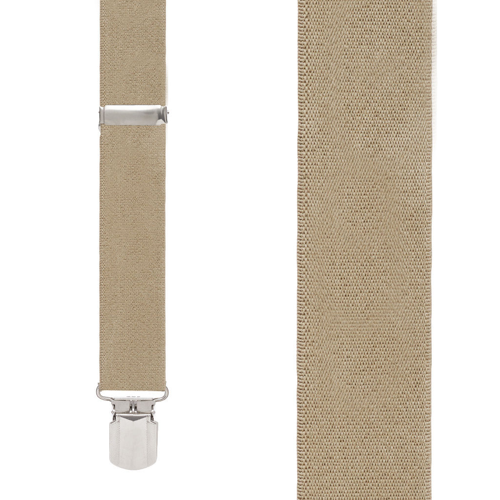 Front View - 1.5 Inch Wide Construction Clip Suspenders - TAN