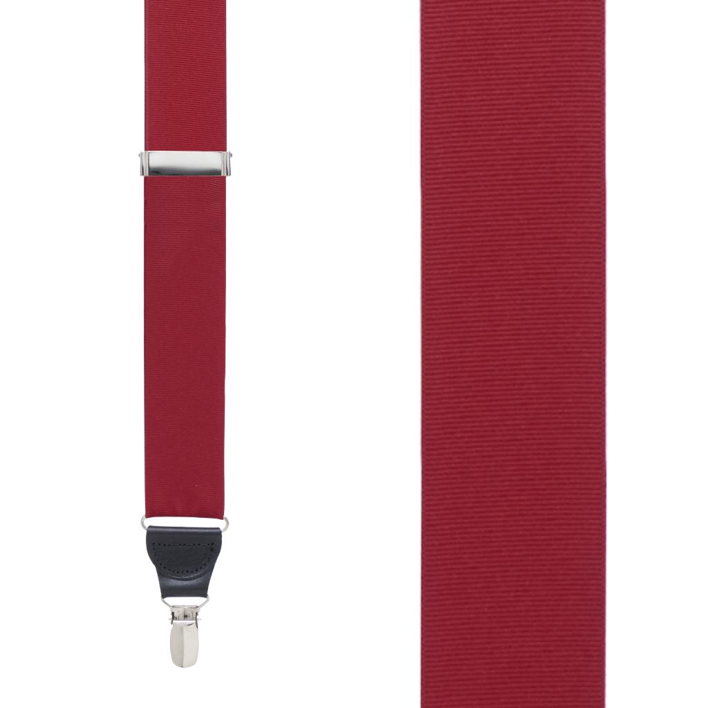Grosgrain Clip Suspenders - Dark Red Front View