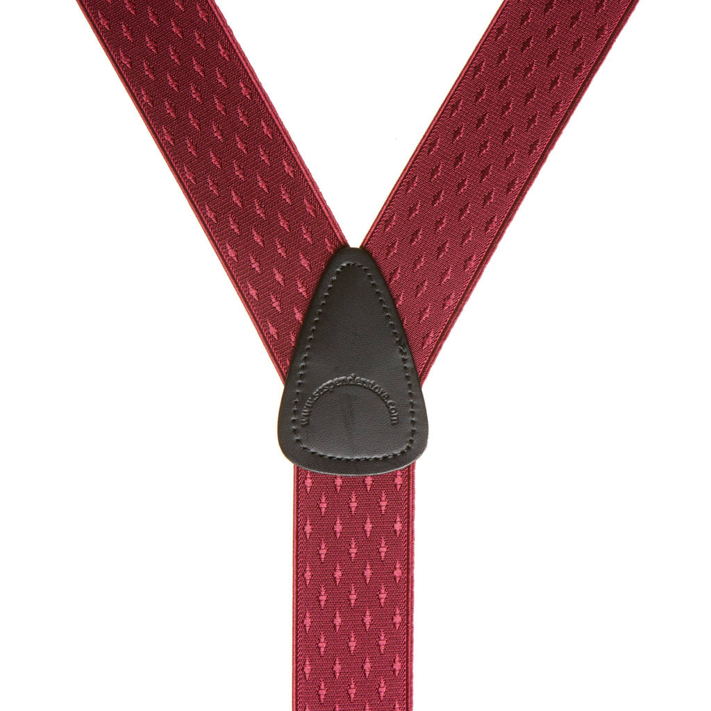 Jacquard Diamond Suspenders in Burgundy - Rear View