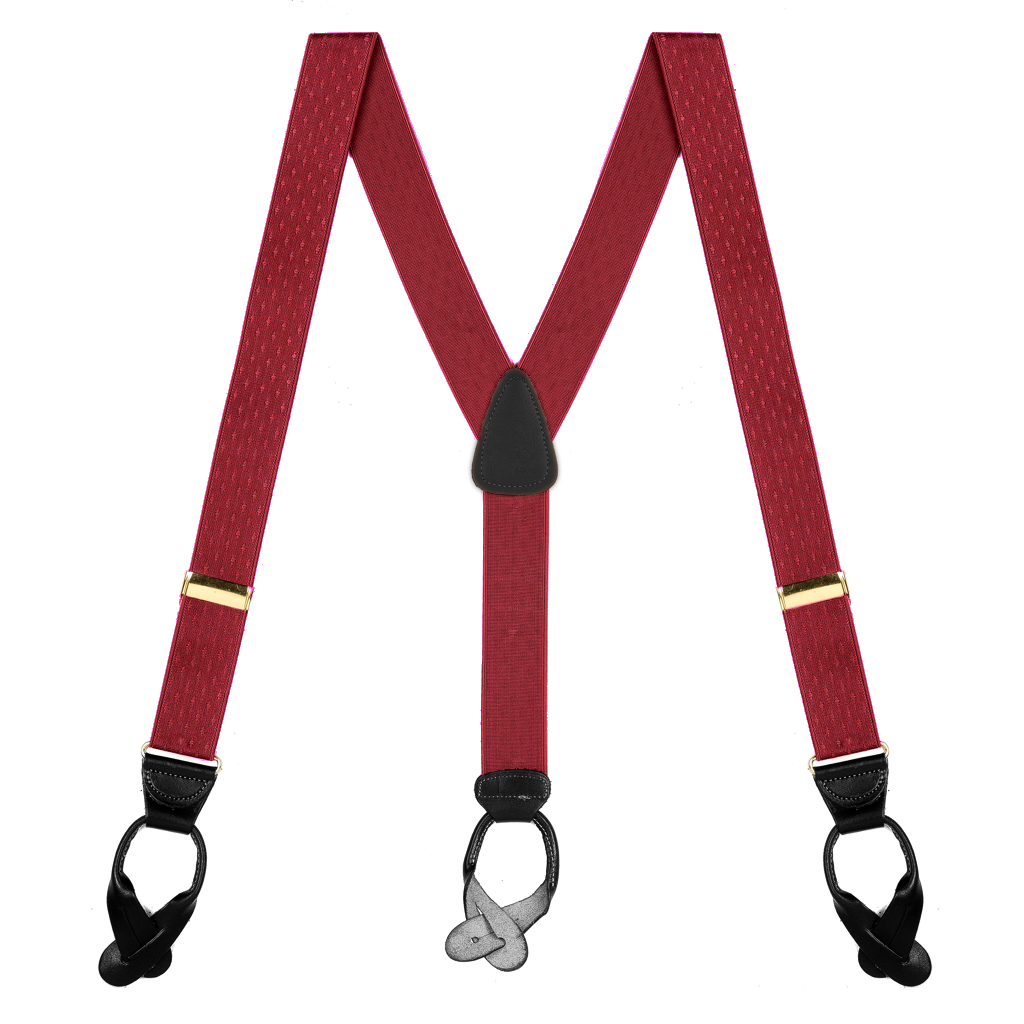 Jacquard Diamond Suspenders in Burgundy - Full View