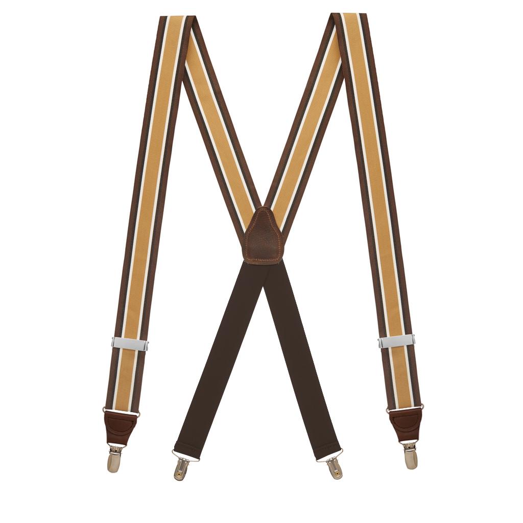 Grosgrain Clip Suspenders - Brown Stripe Full View
