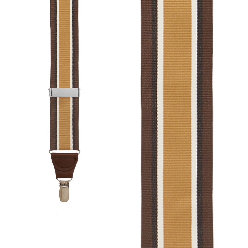 Grosgrain Clip Suspenders - Brown Stripe Front View