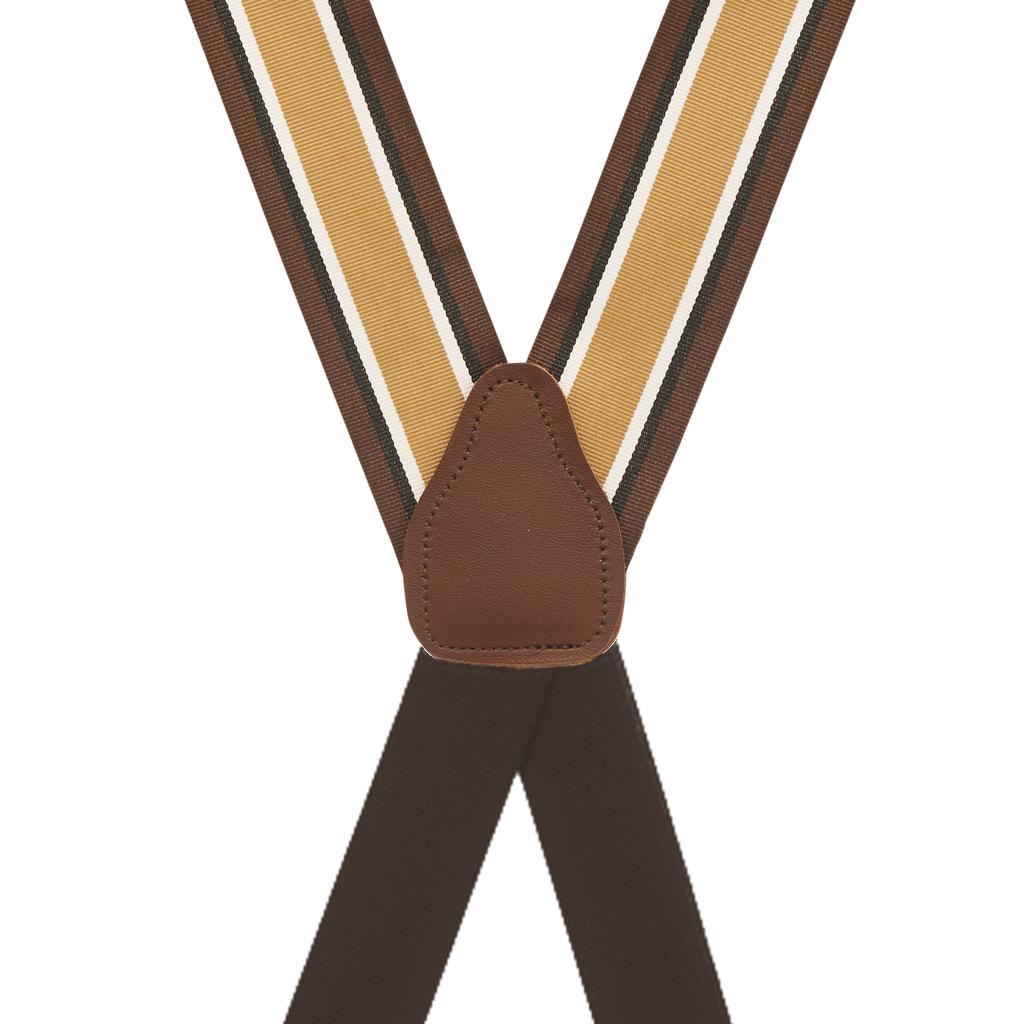 Grosgrain Clip Suspenders - Brown Stripe Rear View