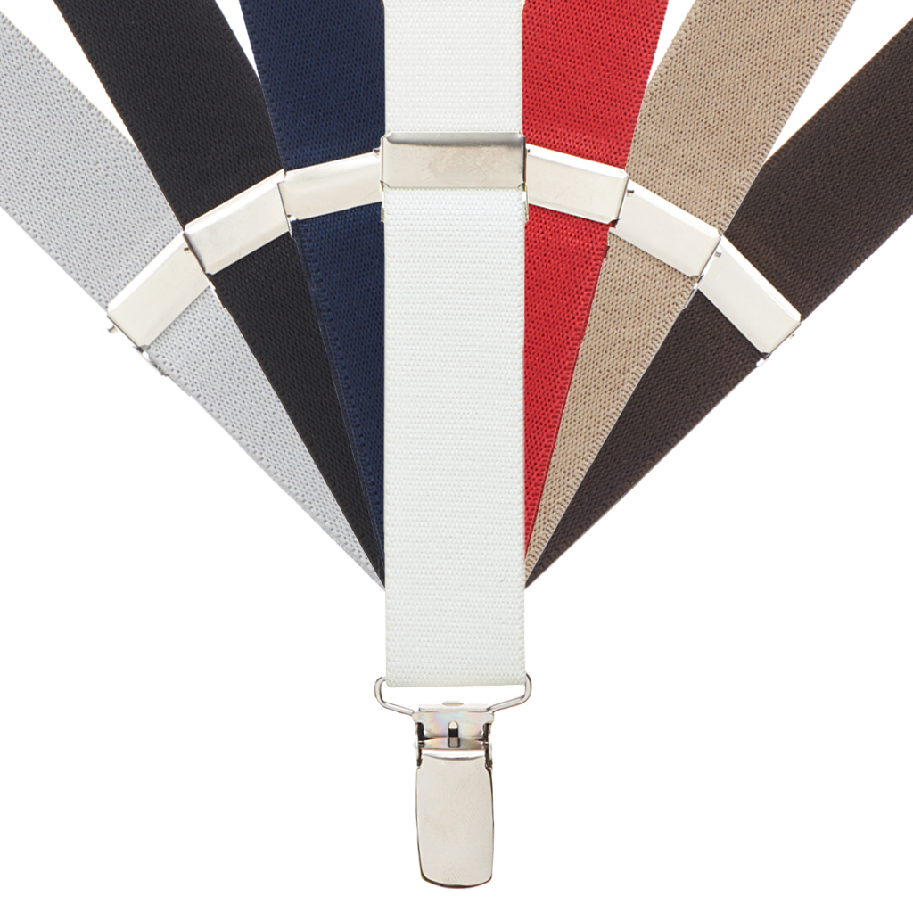 1 Inch Wide Clip Kids Suspenders Solid Colors (Y-Back) -All Colors