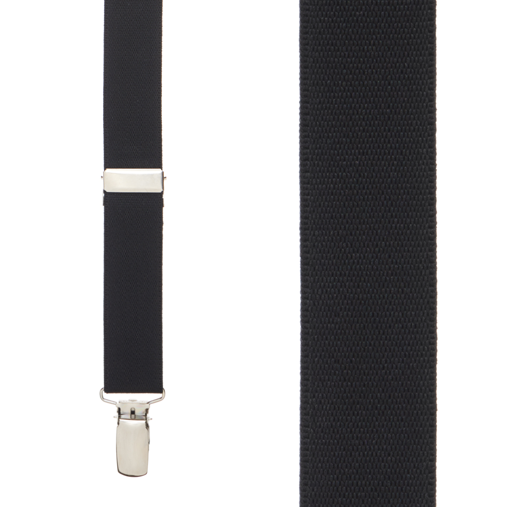 Kids Suspenders Solid Colors in Black - Front View