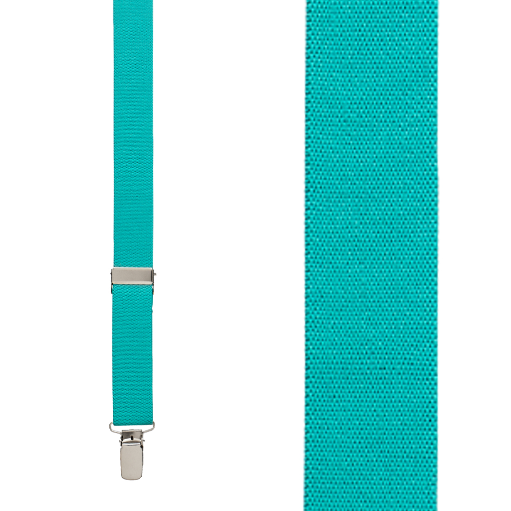 Kids Suspenders Solid Colors in Teal - Front View