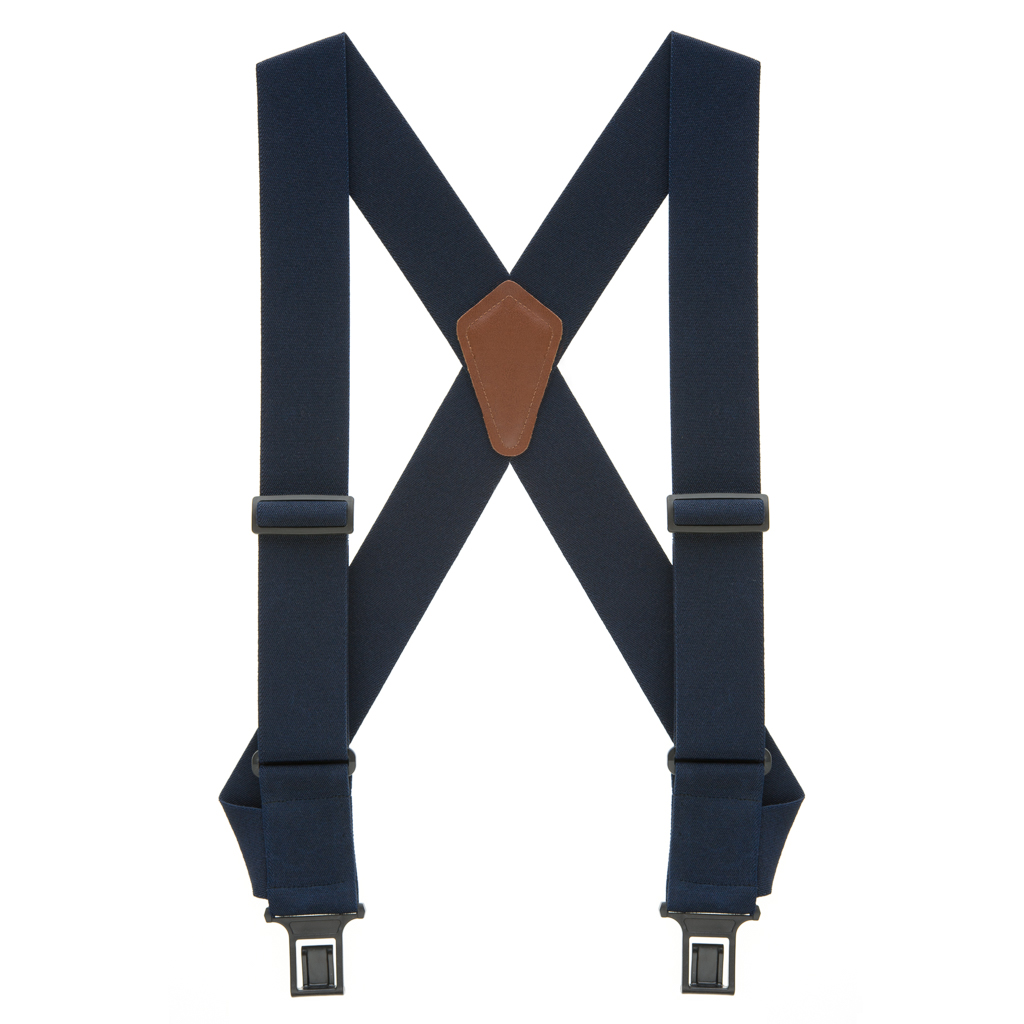 Perry Suspenders - Full View - Navy Blue Side Clip
