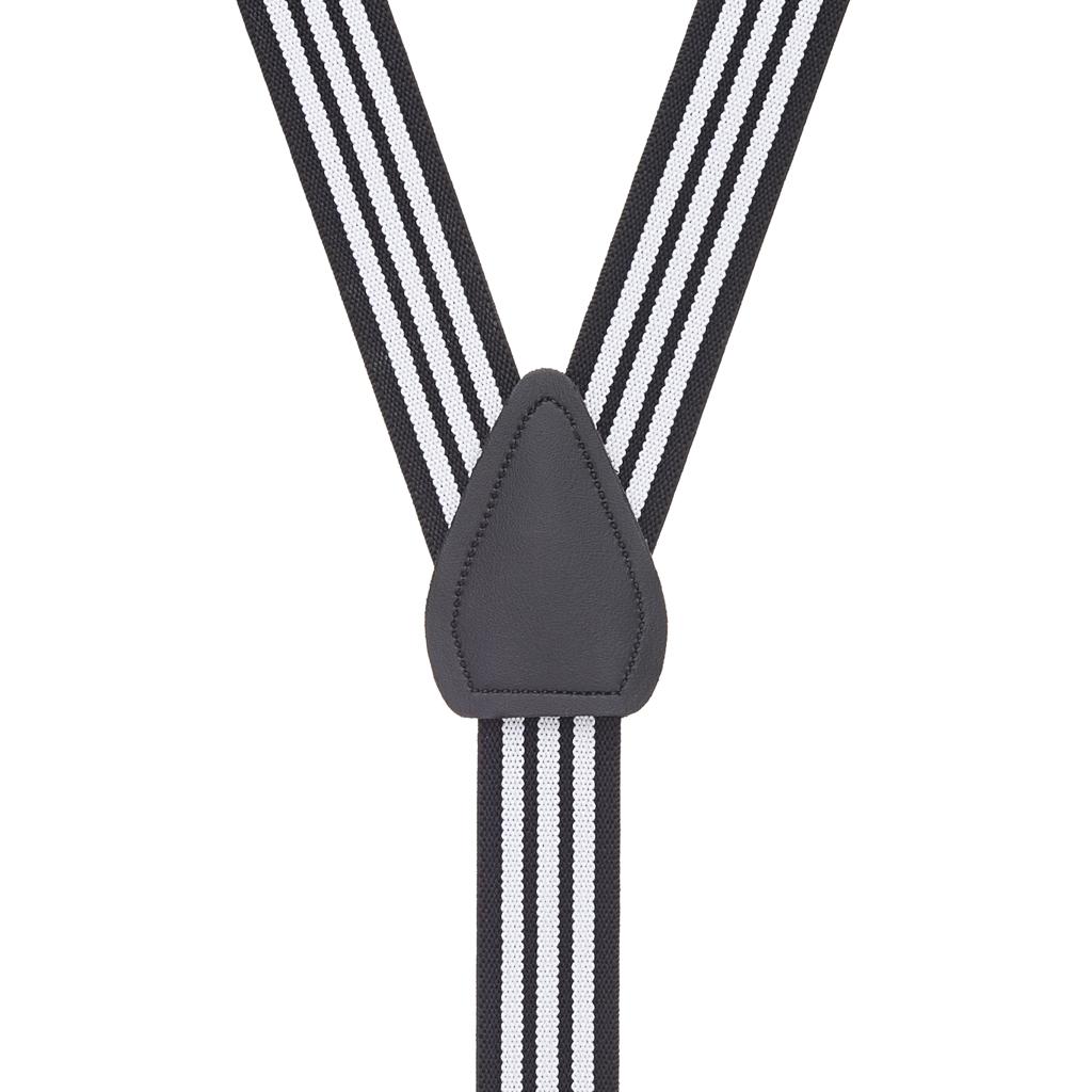 Black & White Striped Suspenders - Rear View