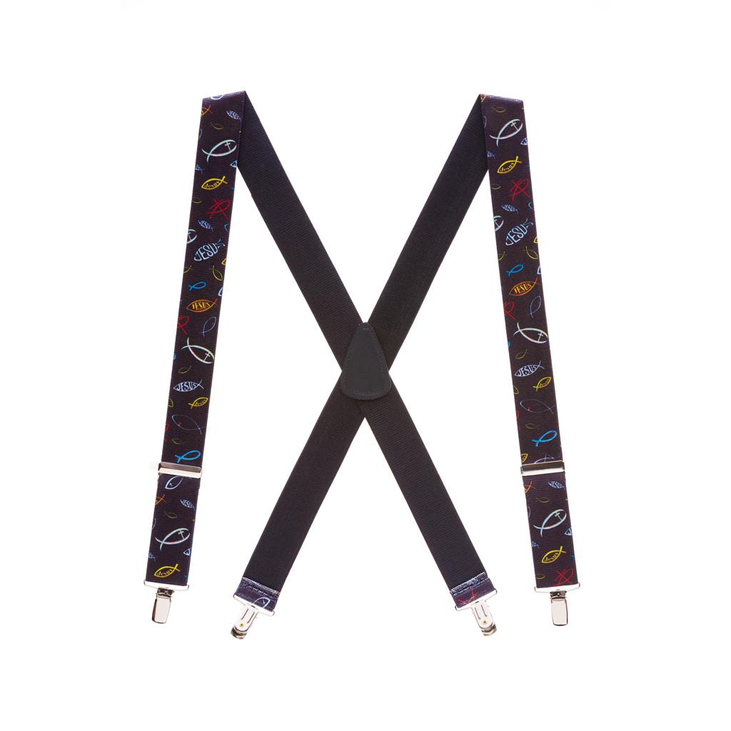 "1.5"" Wide Christian Fish Suspenders"