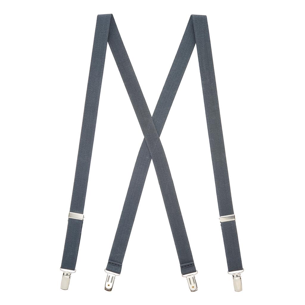 1 Inch Wide Clip Suspenders in Dark Grey - Full View