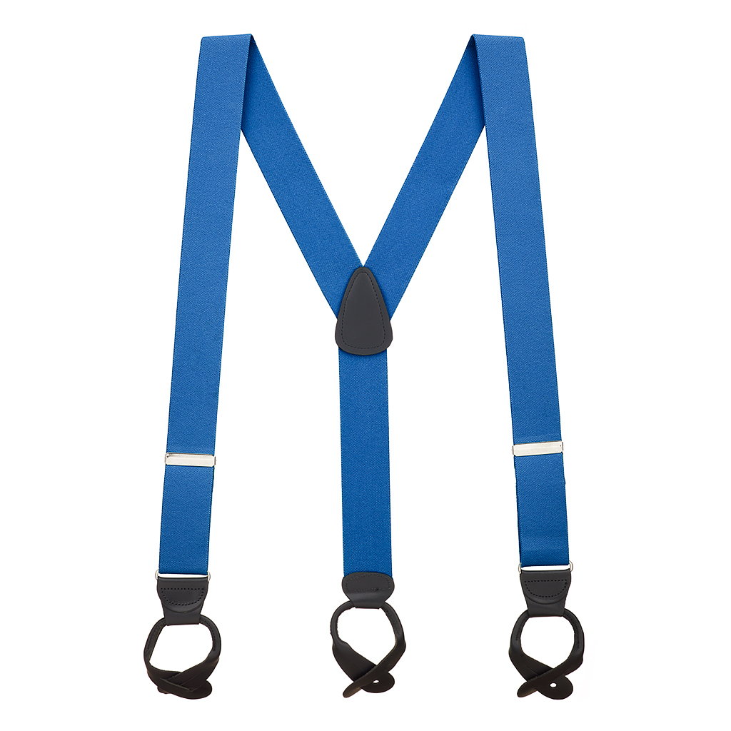 1.5 Inch Wide Button Suspenders - ROYAL BLUE