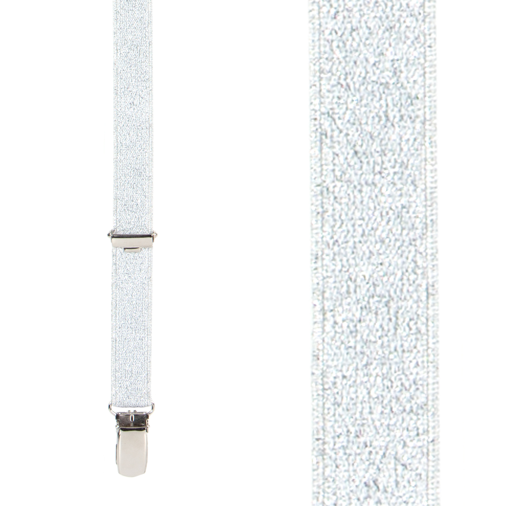 Silver Glitter Suspenders - Front View
