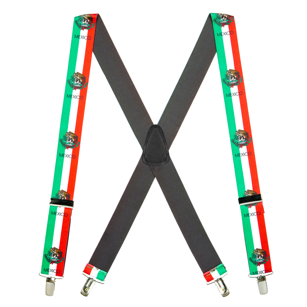 Mexican Flag Suspenders - Full View