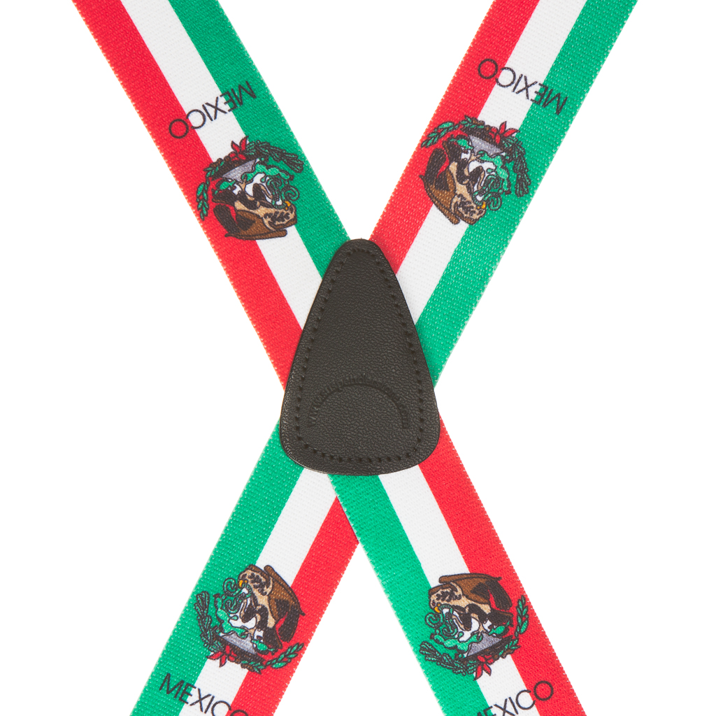 Mexican Flag Suspenders - Rear View