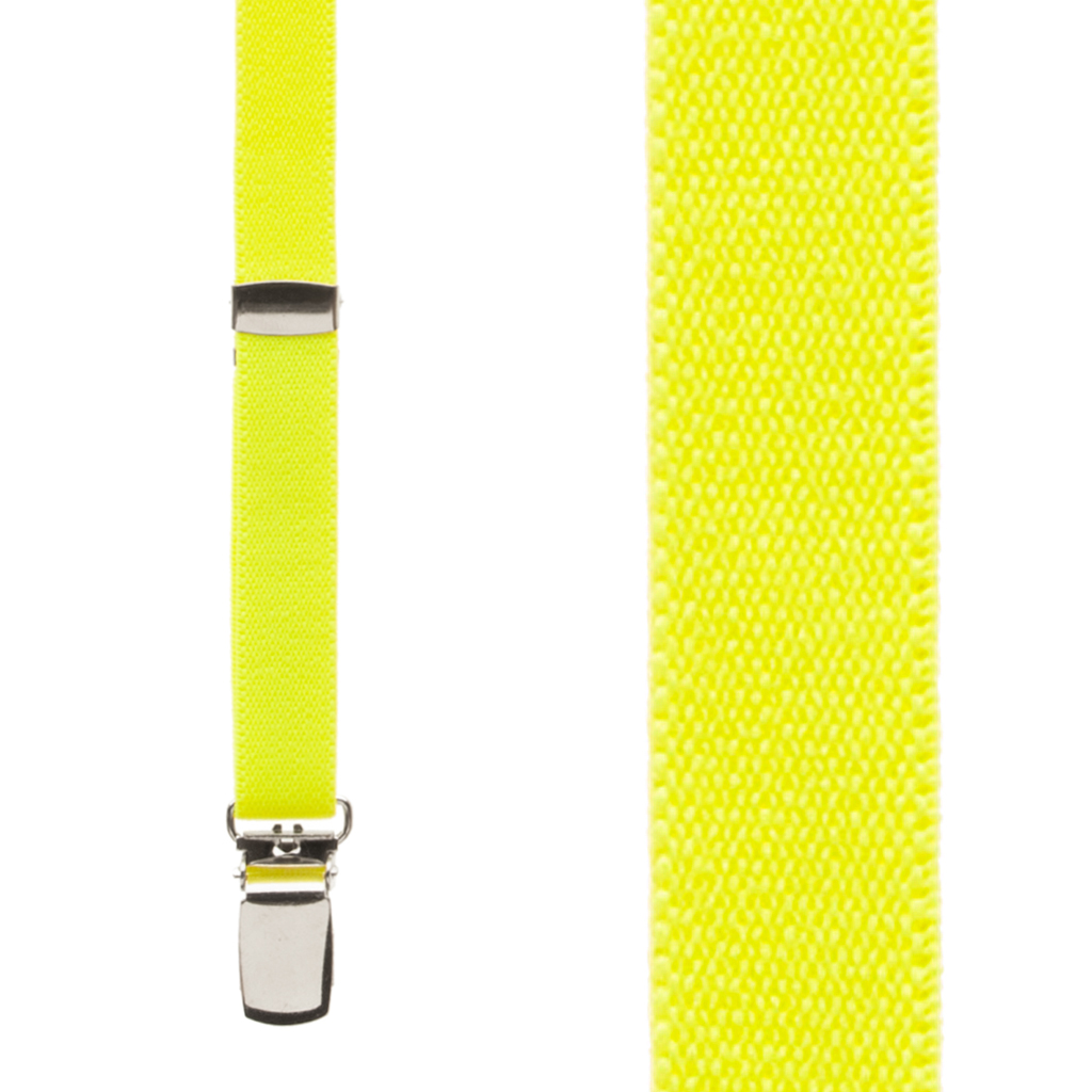 Skinny Suspenders in Neon Yellow - Front View