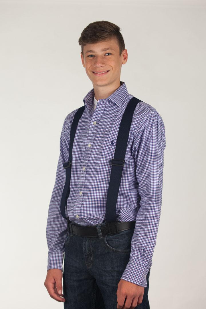 Model wearing Perry suspenders