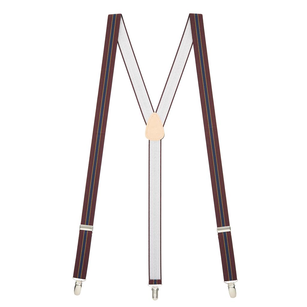 Striped Suspenders in Burgundy & Navy - Full View