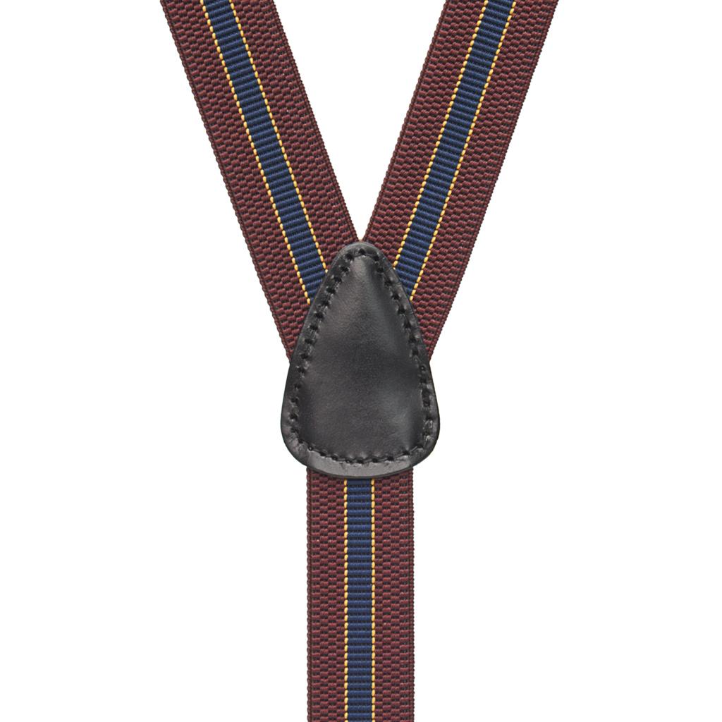 Striped Suspenders in Burgundy & Navy - Rear View