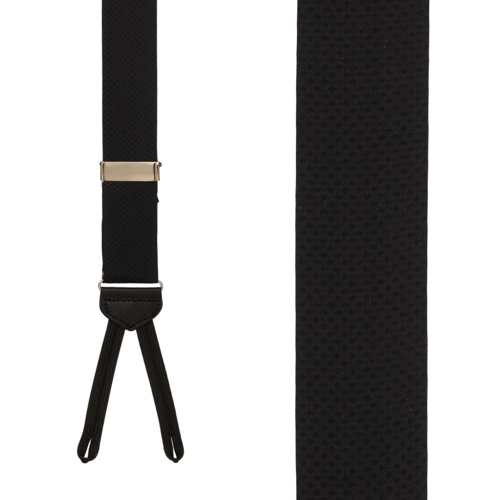 Jacquard Silk BLACK Pin Dot Suspenders - Runner End - Front View
