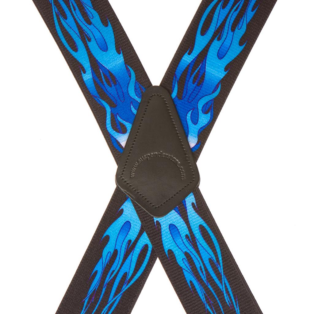 Flames Suspenders in Blue - Rear View