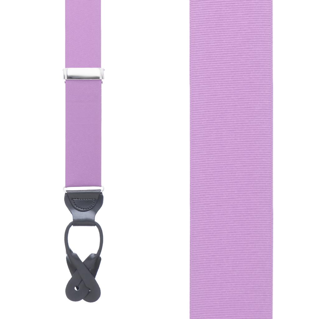 Grosgrain Button Suspenders in Lavender - Front View