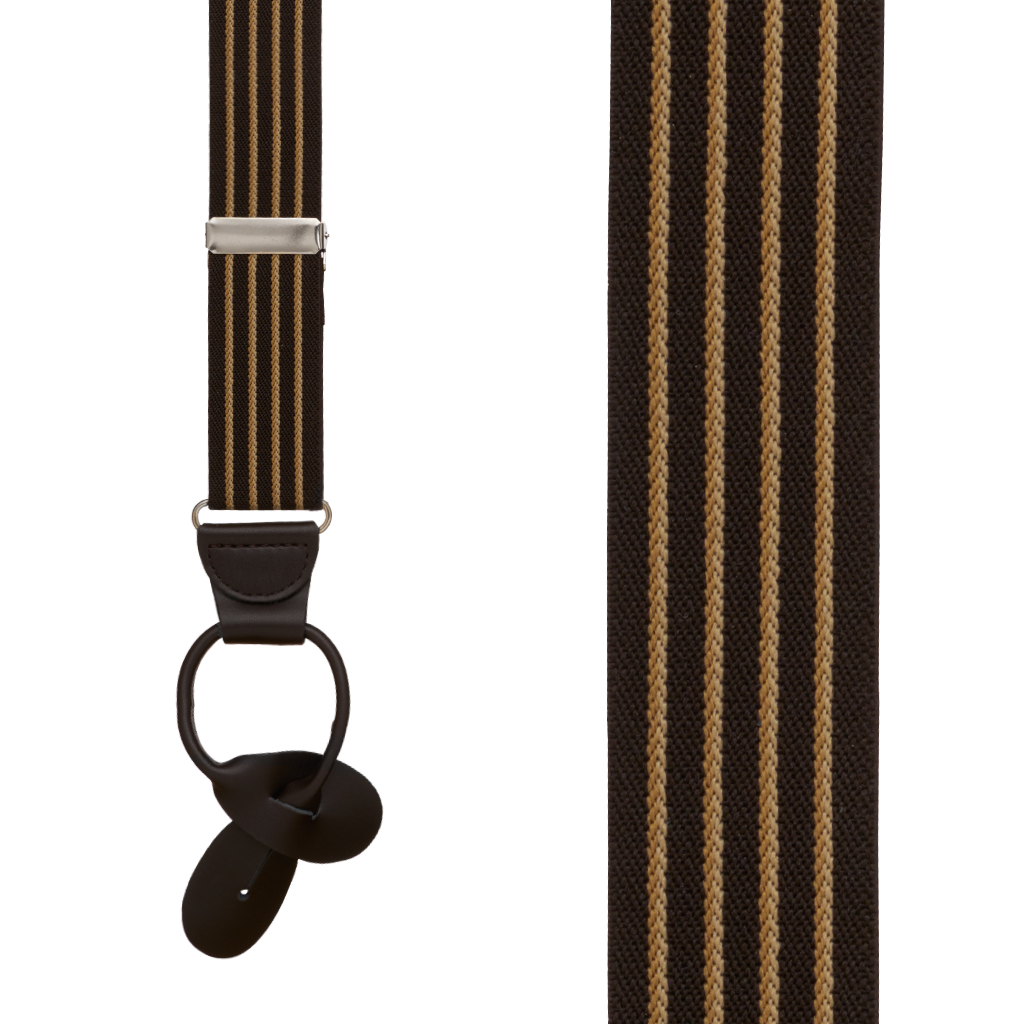 Pinstripe Elastic Suspenders - Button - Detailed View