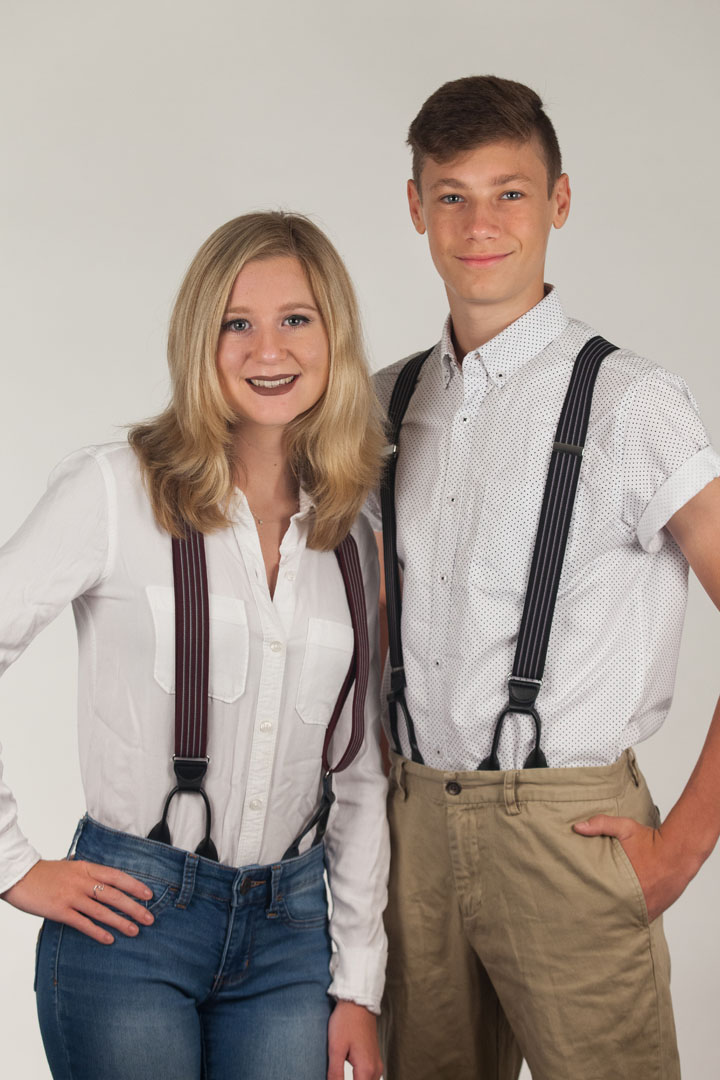 Models Wearing Pinstripe Elastic Suspenders - Button - Front View