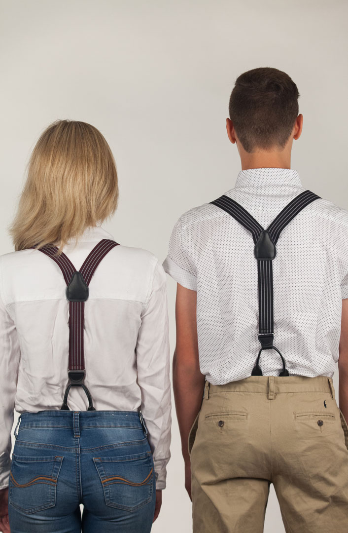 Models Wearing Pinstripe Elastic Suspenders - Button - Rear View