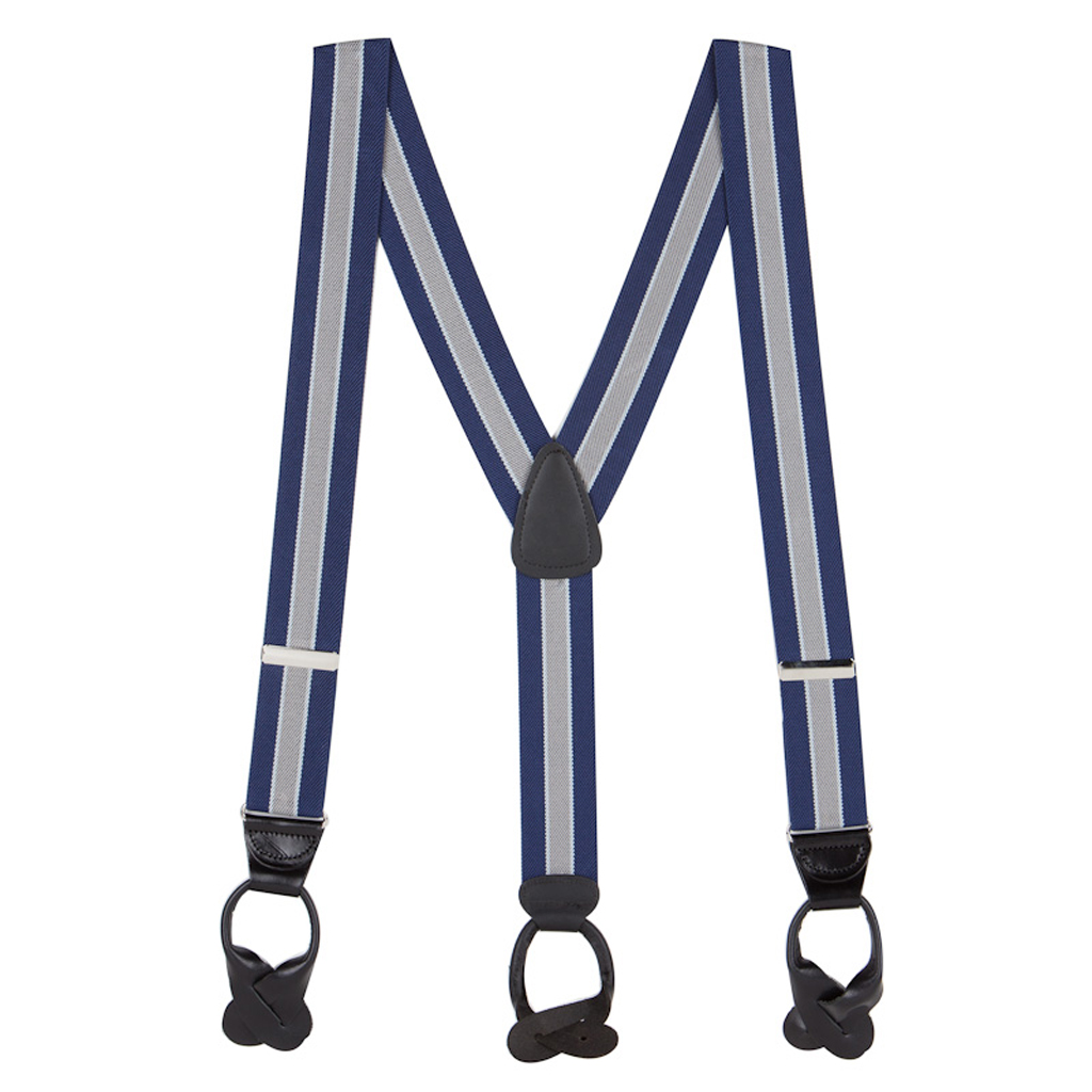Full View - Navy/Grey Striped Button Suspenders - 1.5 Inch Wide