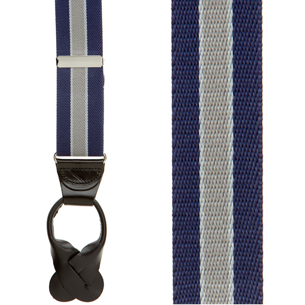 Front View - Navy/Grey Striped Button Suspenders - 1.5 Inch Wide