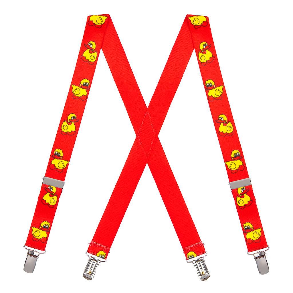 Duckies Suspenders in Red - Full View