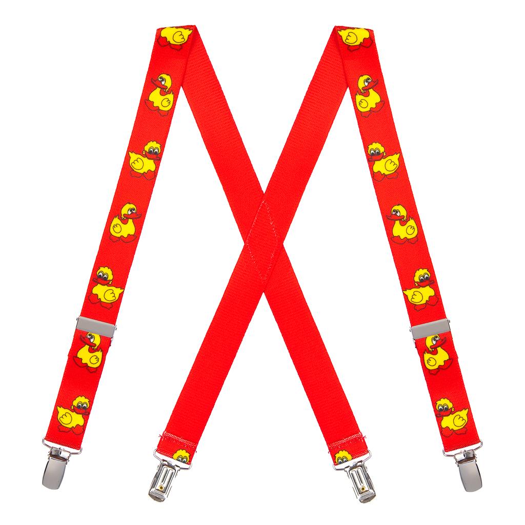 Duckies Suspenders in Red - Full View