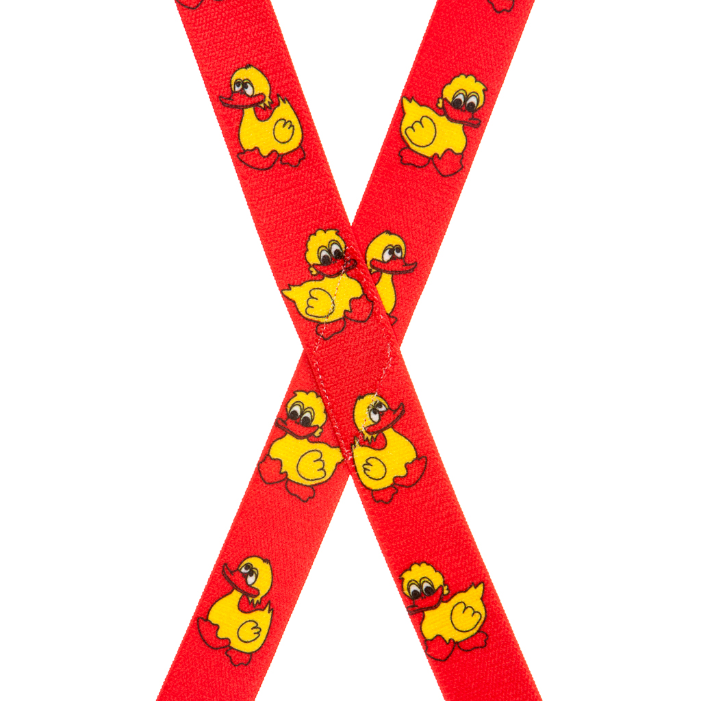 Duckies Suspenders in Red - Rear View