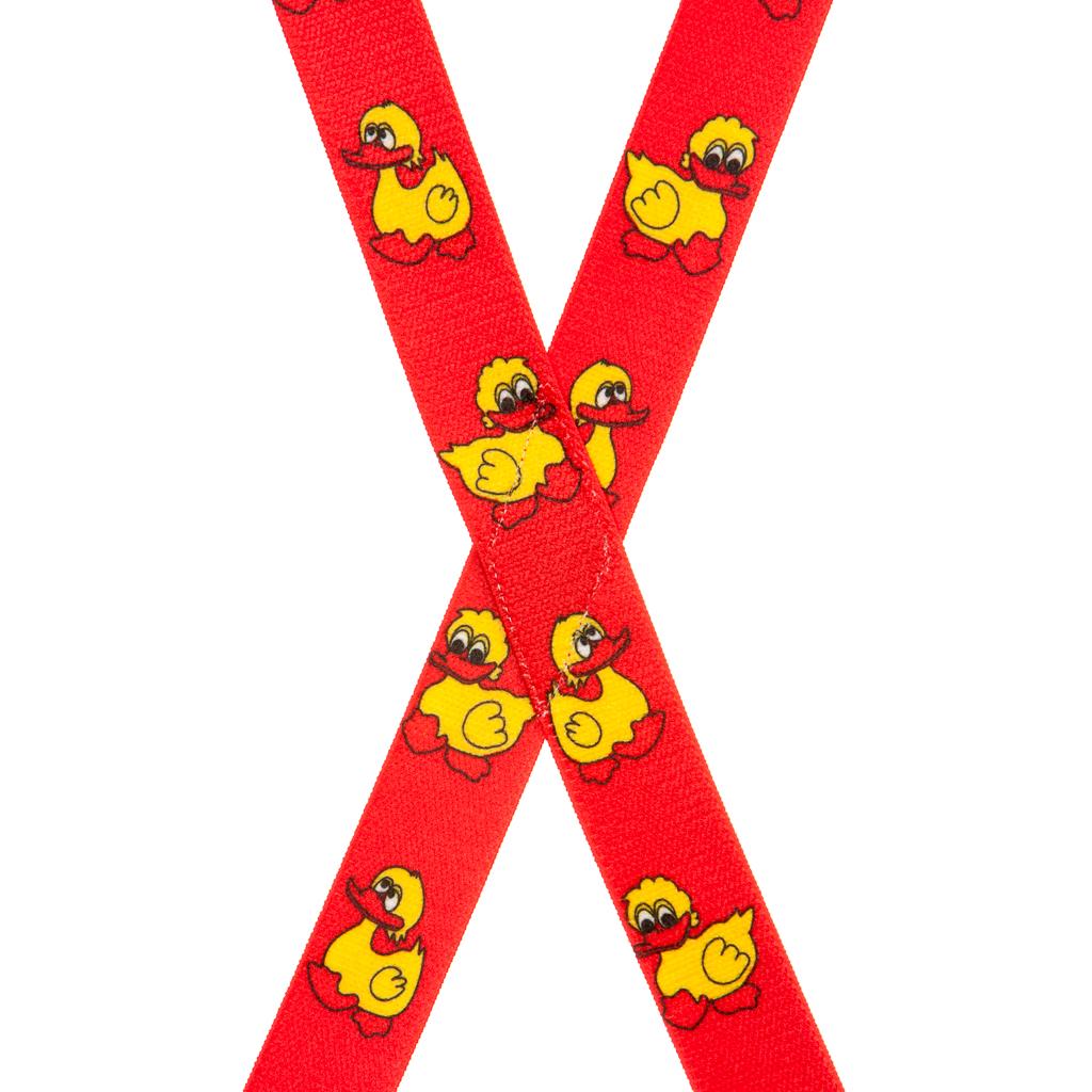 Duckies Suspenders in Red - Rear View