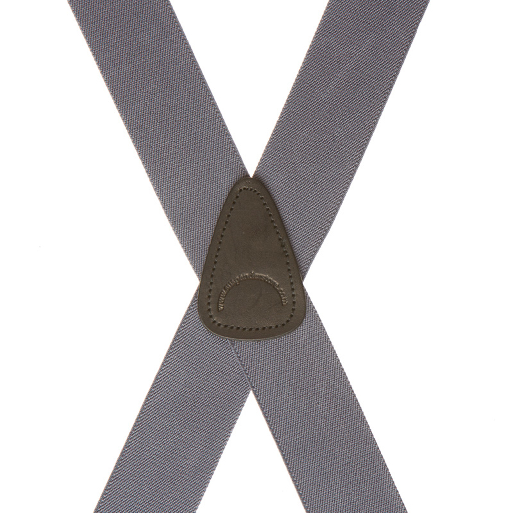 Rear View - 1.5 Inch Wide Clip Suspenders - Rear Grey
