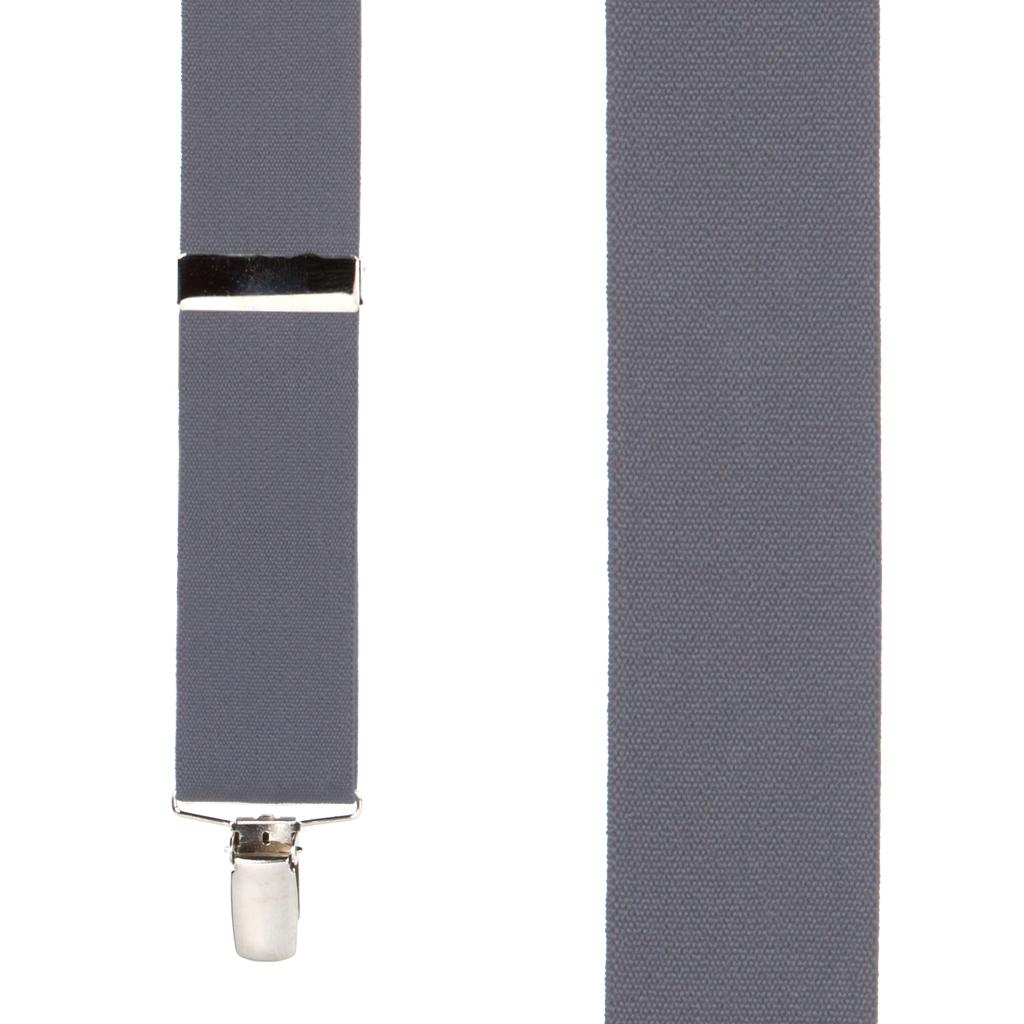 1.5 Inch Wide Clip Suspenders in Dark Grey - Front View