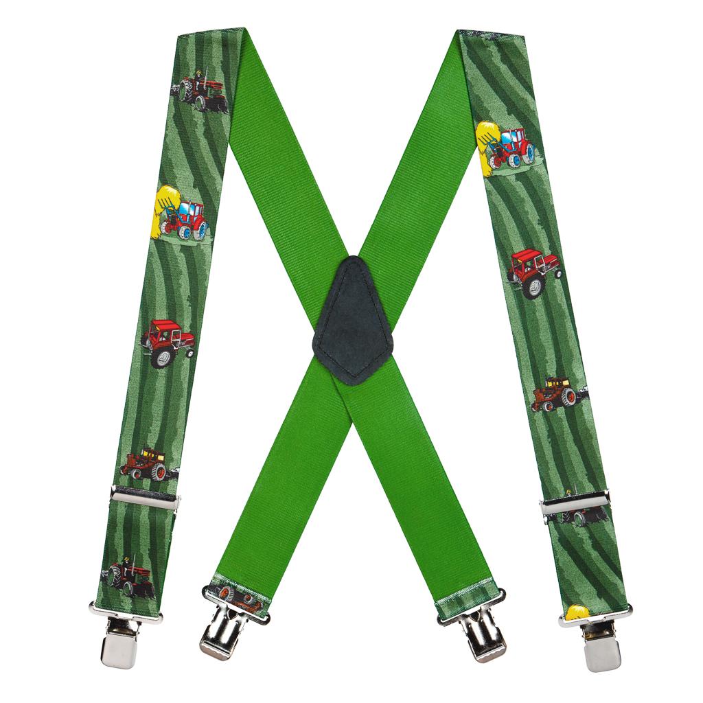 Red Tractors Suspenders - Full View