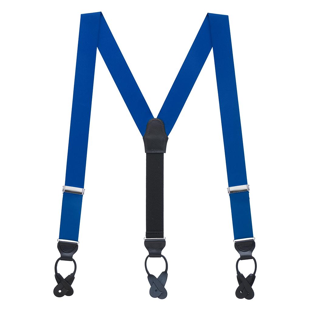 Grosgrain Button Suspenders - Royal Blue Full View
