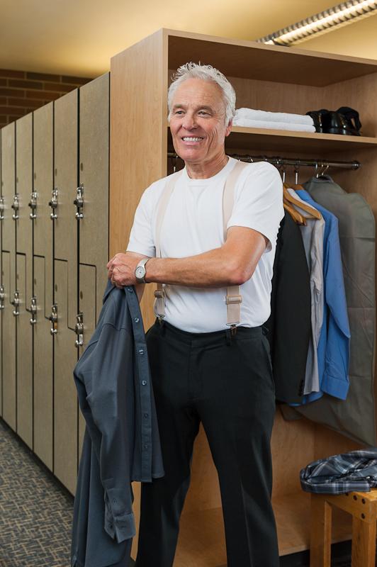 Model Wearing Undergarment Suspenders - BEIGE - Nickel Clip - Front View