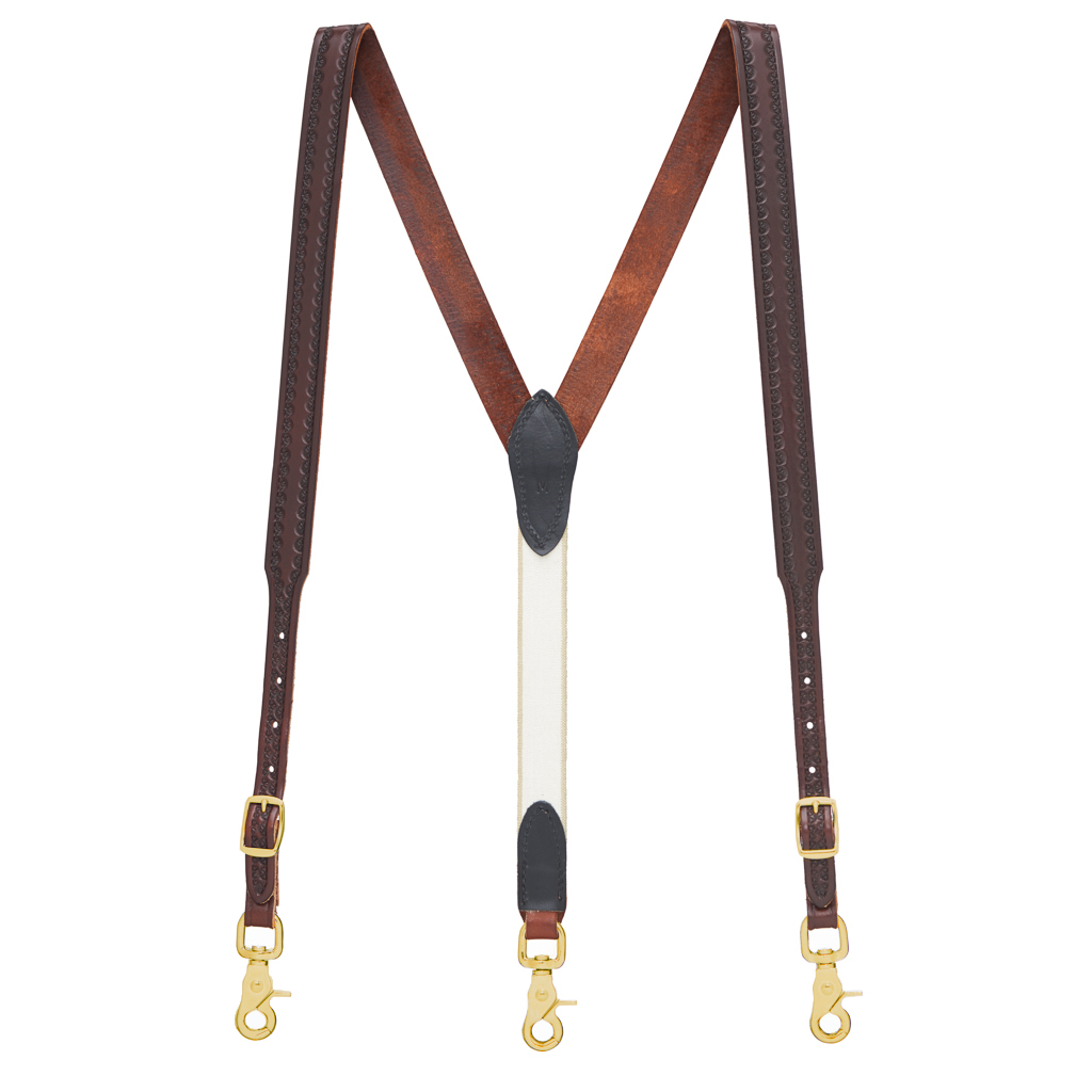 Border Stamped 1 Inch Wide Western Leather Suspenders in Brown - Full View