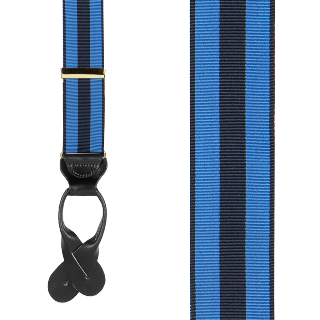 Striped Grosgrain Button Suspenders in Sky/Navy - Front View