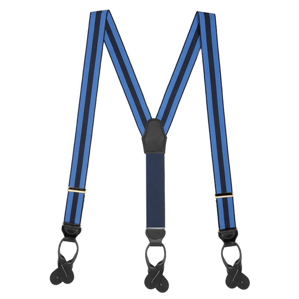 Striped Grosgrain Button Suspenders in Sky/Navy - Full View